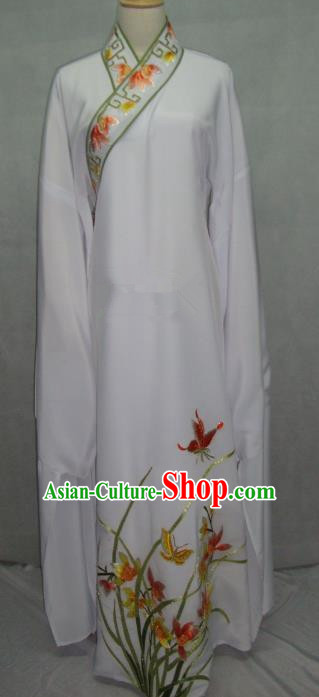 China Beijing Opera Niche Embroidered Orchid White Robe Chinese Traditional Peking Opera Scholar Costume for Adults