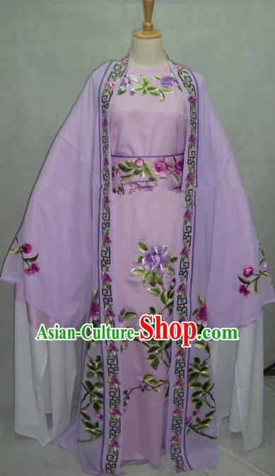 China Beijing Opera Niche Embroidered Peony Purple Clothing Chinese Traditional Peking Opera Scholar Costume for Adults