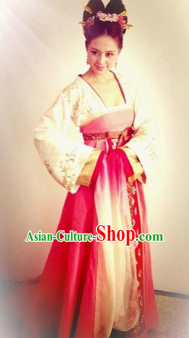 Chinese Traditional Tang Dynasty Imperial Consort Wu Meiniang Embroidered Dress Replica Costume for Women