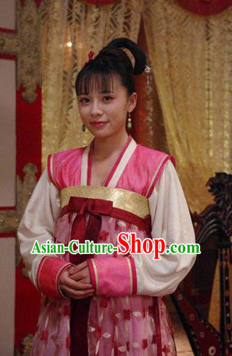 Chinese Traditional Tang Dynasty Palace Lady Court Maid Embroidered Dress Replica Costume for Women