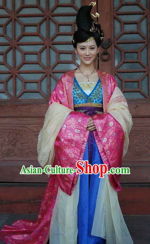 Chinese Traditional Tang Dynasty Palace Princess Anle Embroidered Replica Costume for Women