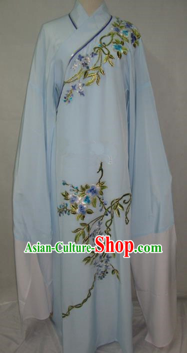 China Beijing Opera Lang Scholar Niche Costume Light Blue Embroidered Robe for Adults