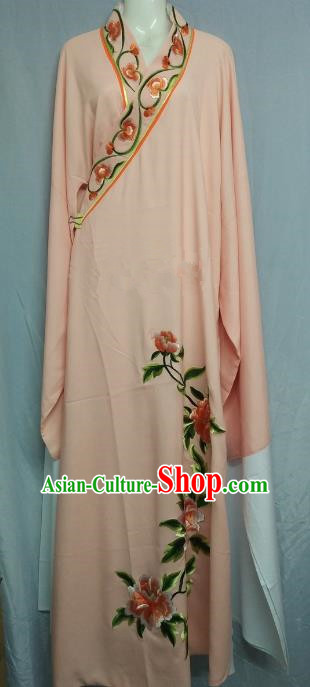 China Beijing Opera Lang Scholar Niche Costume Pink Embroidered Peony Robe for Adults