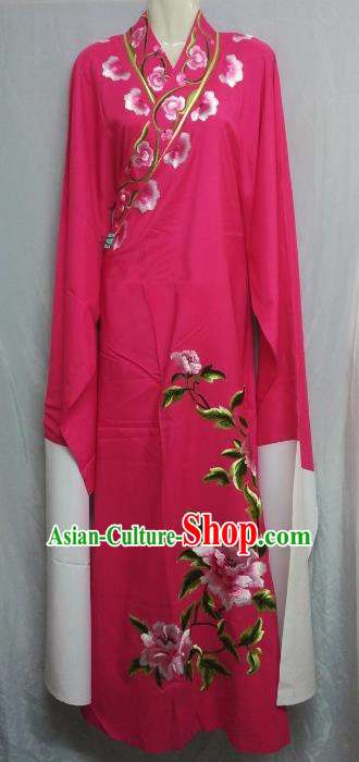 China Beijing Opera Lang Scholar Niche Costume Rosy Embroidered Peony Robe for Adults