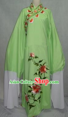 China Beijing Opera Lang Scholar Niche Costume Green Embroidered Peony Robe for Adults