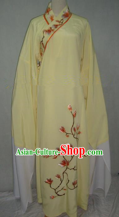 China Beijing Opera Scholar Niche Costume Embroidered Mangnolia Yellow Robe for Adults