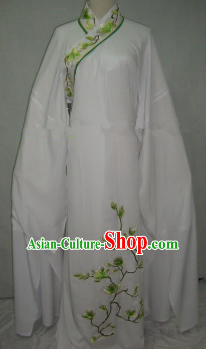 China Beijing Opera Scholar Niche Costume Embroidered Mangnolia White Robe for Adults