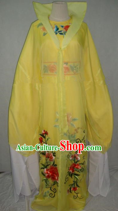 Traditional Chinese Beijing Opera Scholar Niche Costume Embroidered Yellow Robe for Adults