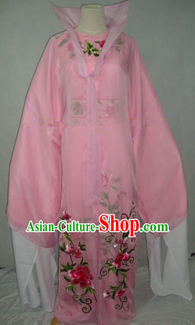 Traditional Chinese Beijing Opera Scholar Niche Costume Embroidered Pink Robe for Adults