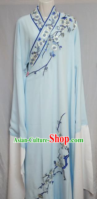 Traditional Chinese Beijing Opera Niche Costume Embroidered Plum Blossom Blue Robe for Adults
