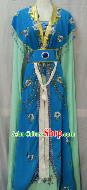 Traditional China Beijing Opera Young Lady Embroidered Blue Dress Chinese Peking Opera Diva Costume
