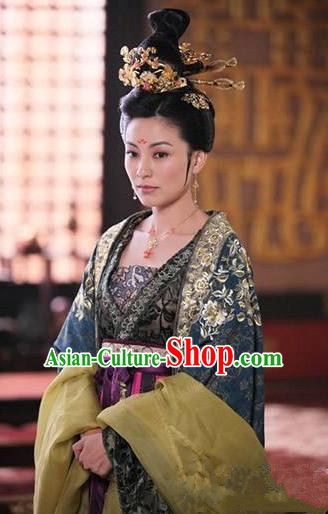 Chinese Ancient Tang Dynasty Female Officials Shangguan Wan-Er Embroidered Dress Palace Replica Costume for Women