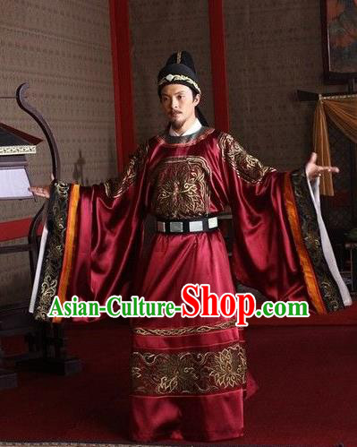 Traditional Chinese Tang Dynasty Gwanbok Minister Detective Di Renjie Replica Costume for Men