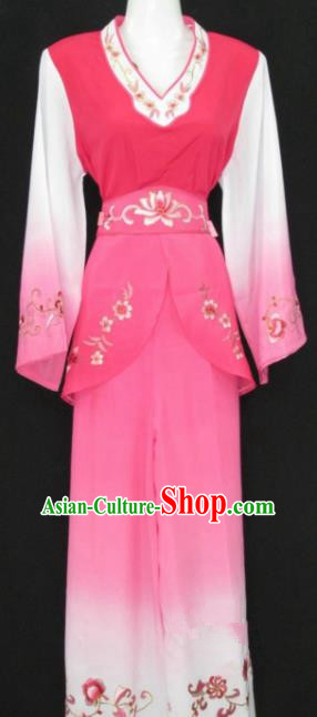 Traditional China Beijing Opera Young Lady Pink Dress Chinese Peking Opera Maidservants Costume
