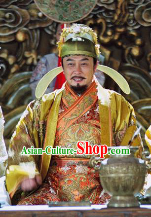 Chinese Ancient Tang Dynasty Emperor Taizong Li Shimin Embroidered Replica Costume and Hats for Men