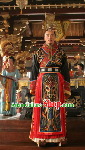 Chinese Ancient Tang Dynasty Emperor Li Shimin Replica Costume and Headpiece Complete Set for Men