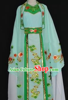 Traditional Chinese Beijing Opera Niche Costume Scholar Embroidery Green Robe for Adults