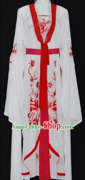 Traditional Chinese Beijing Opera Diva Red Dress Peking Opera Nobility Lady Embroidered Costume