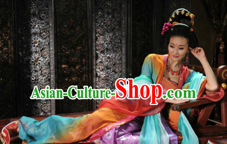Chinese Ancient Tang Dynasty Courtesan Dance Dress Geisha Replica Costume for Women