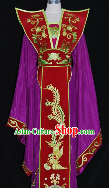 Traditional Chinese Beijing Opera Queen Purple Dress Peking Opera Diva Embroidered Costume
