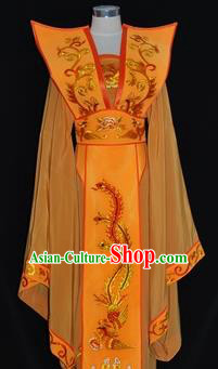 Traditional Chinese Beijing Opera Queen Yellow Dress Peking Opera Diva Embroidered Costume