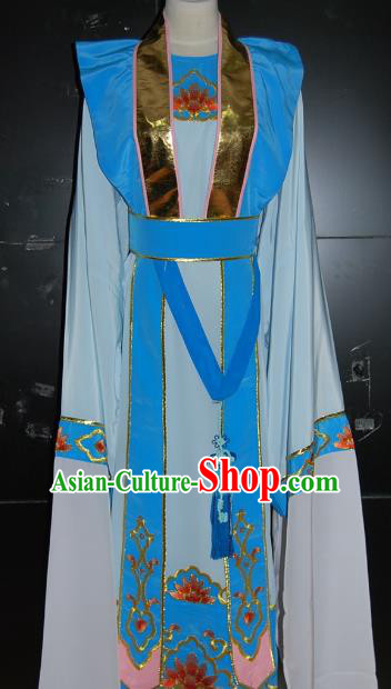 Traditional Chinese Beijing Opera Costume Peking Opera Niche Blue Clothing for Adults