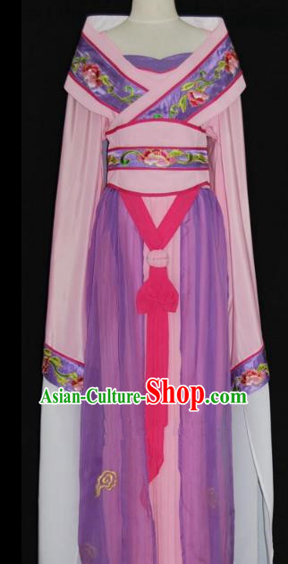 Traditional Chinese Beijing Opera Imperial Consort Purple Dress Peking Opera Diva Embroidered Costume
