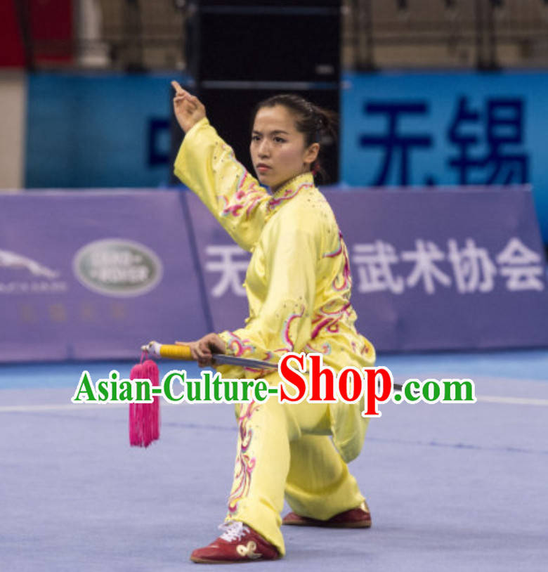 Supreme Custom Competition Female Taiji Quan Uniforms Kung Fu Suit Kung Fu Uniform Chinese Jacket Taiji Clothes Dress Dresses Kung Fu Clothing Embroidered Tai Chi Suits Custom Kung Fu Embroidery Uniforms