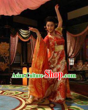 Ancient Chinese Tang Dynasty Consort Yang Embroidered Dance Dress Palace Lady Replica Costume for Women