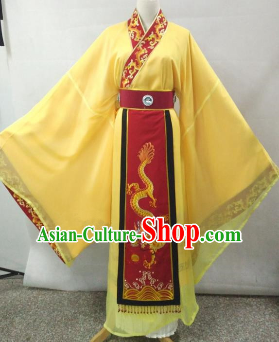 Traditional Chinese Beijing Opera Empress Costume Professional Peking Opera Diva Embroidered Yellow Dress
