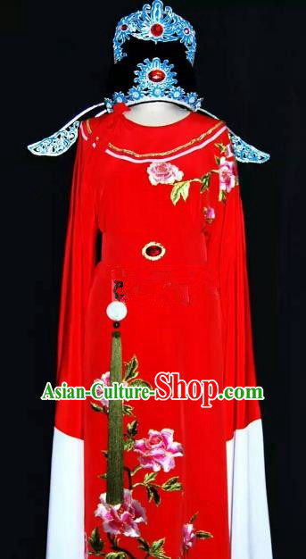 Top Grade Chinese Beijing Opera Embroidered Red Robe Peking Opera Niche Costume and Hat for Adults