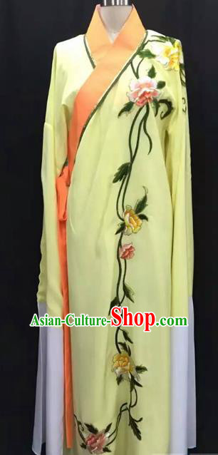 Top Grade Chinese Beijing Opera Embroidered Peony Yellow Robe Peking Opera Niche Costume for Adults