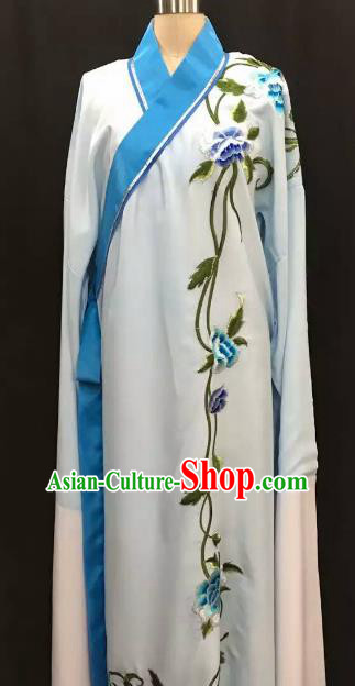 Top Grade Chinese Beijing Opera Embroidered Light Blue Sleeve Robe Peking Opera Niche Costume for Adults