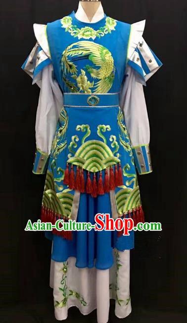 Traditional Chinese Beijing Opera Martial Lady Costume Professional Peking Opera Blue Clothing