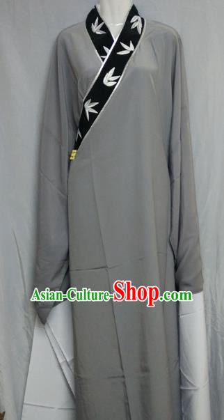 Top Grade Chinese Beijing Opera Young Men Costume Peking Opera Niche Embroidery Bamboo Leaf Grey Robe for Adults