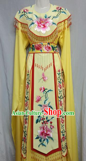 Top Grade Chinese Beijing Opera Actress Costume China Professional Peking Opera Diva Yellow Dress