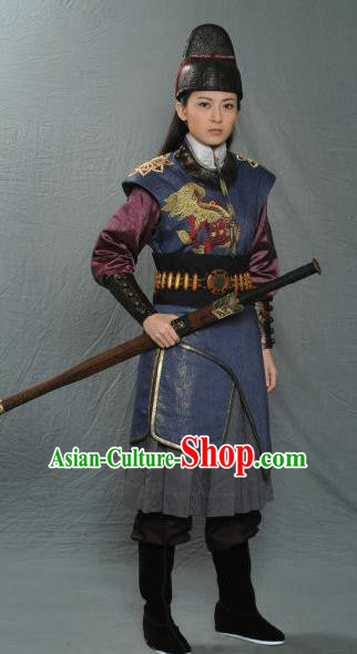 Chinese Ancient Song Dynasty Female Imperial Bodyguard Historical Costume for Women