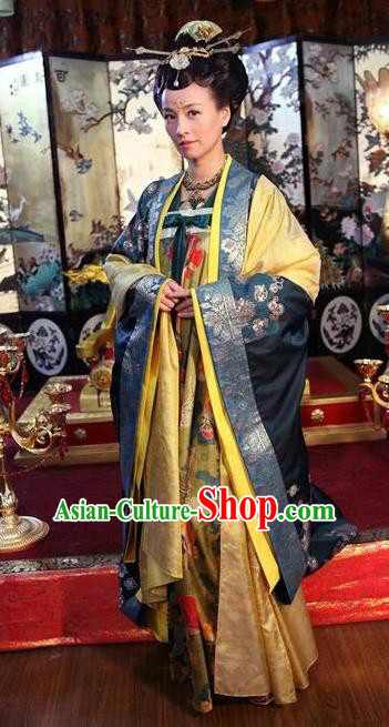 Chinese Ancient Tang Dynasty Empress Wu Zetian Hanfu Dress Historical Costume and Headpiece Complete Set for Women