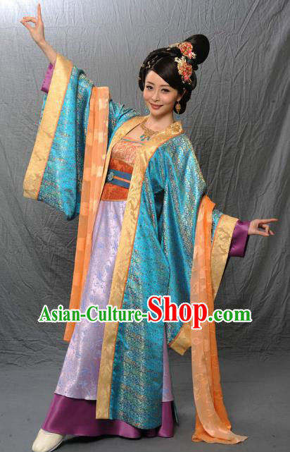 Chinese Ancient Tang Dynasty Dance Embroidered Hanfu Dress Historical Costume for Women