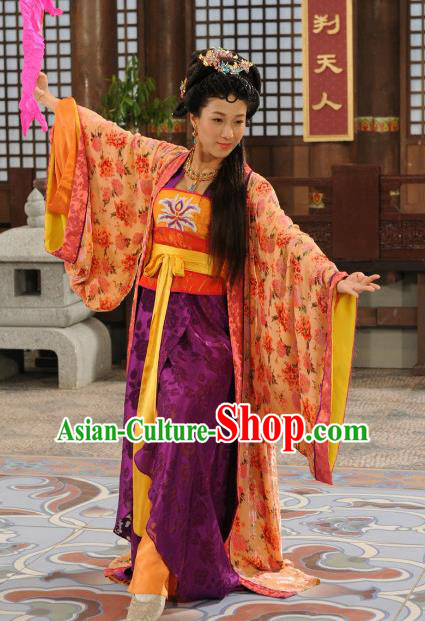 Chinese Ancient Tang Dynasty Nobility Lady Embroidered Hanfu Dress Historical Costume for Women
