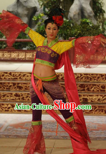 Chinese Ancient Tang Dynasty Palace Dance Clothing Historical Costume for Women