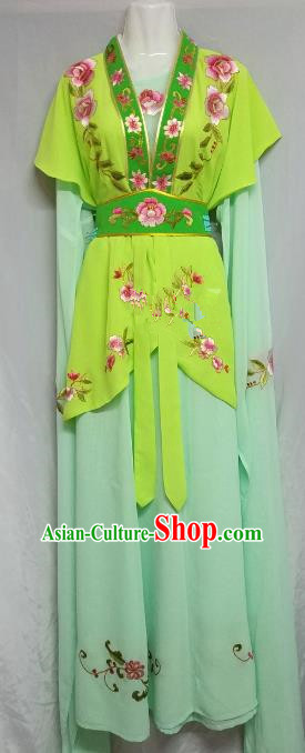 Top Grade Chinese Beijing Opera Maidservants Green Dress China Peking Opera Young Lady Embroidered Costume