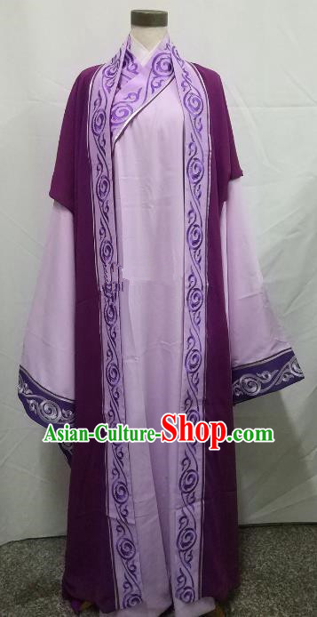 Chinese Beijing Opera Scholar Costume Peking Opera Niche Embroidery Purple Robe for Adults