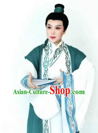 Chinese Beijing Opera Scholar Costume Peking Opera Niche Embroidery Green Robe for Adults