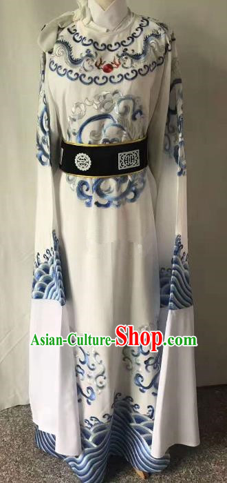 Chinese Beijing Opera Scholar Costume Peking Opera Niche White Embroidery Robe for Adults