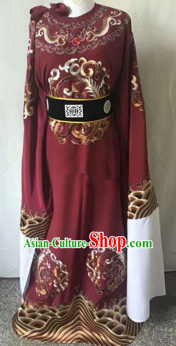 Chinese Beijing Opera Scholar Costume Peking Opera Niche Purplish Red Embroidery Robe for Adults