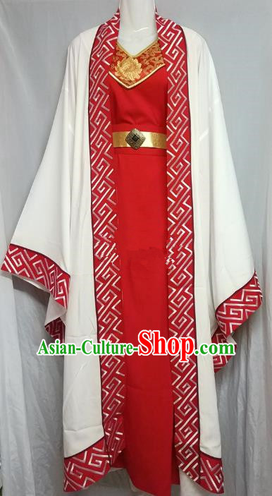 Chinese Beijing Opera Scholar Young Men Costume Peking Opera Niche Red Embroidery Robe for Adults