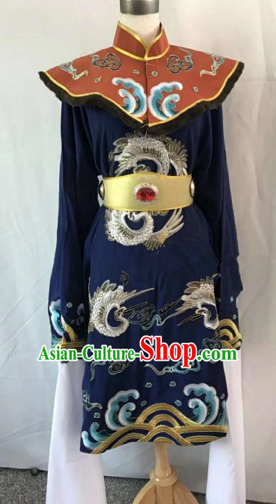 Top Grade Chinese Beijing Opera Martial Arts Female Navy Dress China Peking Opera Warrior Embroidered Costume