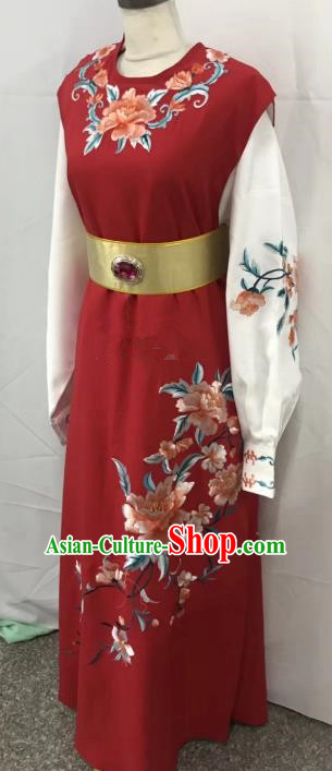 Chinese Beijing Opera Scholar Jia Baoyu Costume Peking Opera Niche Red Embroidery Robe for Adults
