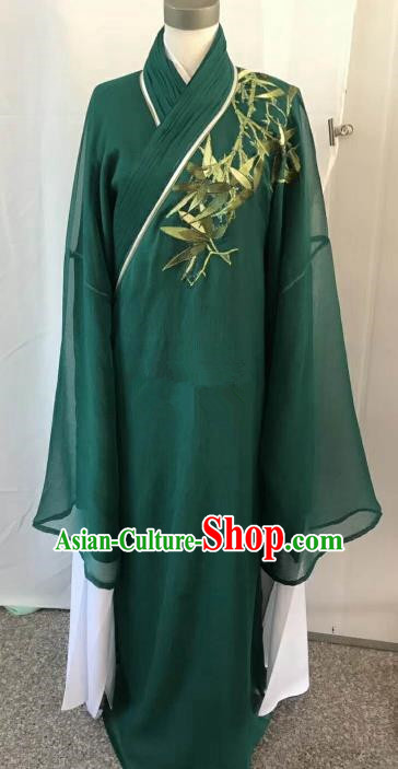 Chinese Beijing Opera Scholar Costume Peking Opera Niche Green Veil Embroidery Robe for Adults